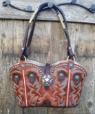 #104-17 Rustic Sunset Red Western Purse