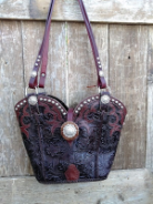 #105-18  Rich Brown Tooled Cowboy Boot Purse