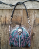 #112-17 Teal Cowboy Boot Purse with Rose Swarovski Crystals
