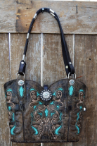 114-18 Black Cowboy boot purse with Turquoise Inlays