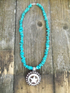 Turquoise rounded nuggets necklace with star concho pendant