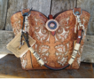 #124-17 buckskin western bag with horse tack handles