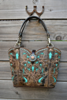 #136-17 Black Cowboy boot purse with Turquoise Inlays
