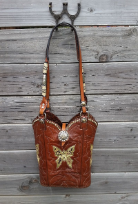 138-15 Brown Butterfly cowboy boot purse