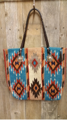 210 Saddle blanket bag,Turquoise, cream, orange diamonds