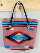 417 Indian Chief Blanket Bag Peach and Blue