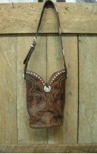 #590 Rustic brown leather purse with a touch of cowgirl chic