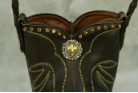 #595 Brown leather cowboy boot with lime green stitch and amber crystals