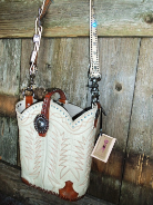 602-11 Cream western bag with orange and cream stitching, Crystals and Nocona belt handle.