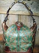 607-11 Green twisted X cowboy boot purse with amber stitching, single horse rein handle