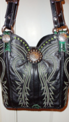 #626 Black leather cowboy boot purse with green stitching