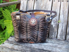 #628-11 Brown cowboy boot purse with amber crystals