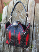 #629-11 Black leather purse with red inlays, red crystals