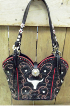 #633 Black cowboy boot purse with red stitching, inlay white steers and stars. Red Crystals. Free zippered pouch included.