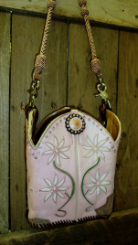 #665 Pink with inlay white daisies, rustic. Insert bag included