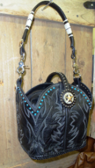 #670 Black cowboy boot purse with white stitching, turquoise rivets and brow band handle, FREE INSERT BAG