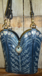 #673 Midnight Blue with white stitching, blue crystals and lucky horse shoe cowboy boot purse