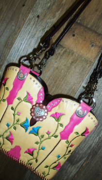 #674-12 Yellow with pink and blue flowers cowboy boot purse