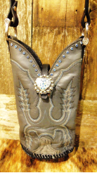 #705 Grey cowboy boot purse with blue stitching, sky blue crystals and heart shaped concho