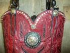725-13 Dark Red western purse with crystals