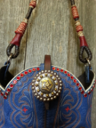 731-13 Blue cowboy boot purse with red swarovsi crystals