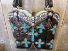 733-13 Black cowboy boot western bag with cross