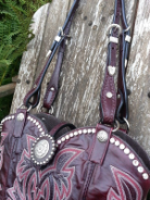 737-13 Burgandy cowboy boot purse