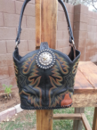 776-13 Black with yellow and orange stitching cowboy boot bag