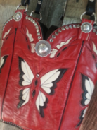 852-14 Red Butterfly Western Purse