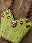 854-14 Lime Green cowboy boot purse with swarovski crystals