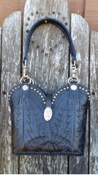 891-14 Soft black western purse with silver antique spots