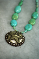 Turquoise nuggets with sterling silver star pendant.