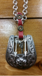#105 Western Buckle with Arrows, pistol charm necklace