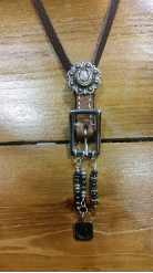 #104  Buckle Necklace brown with turquoise and horseshoe charm