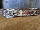 Rustic cowgirl belt with horses and Swarovski cross buckle