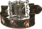 Rustic distressed cowboy motif leather belt