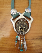 #113-16 Recycled horse tack pendant with concho and turquoise