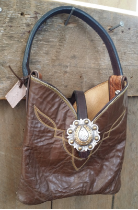 The Lil' cowboy boot bag dark brown with horse shoe concho