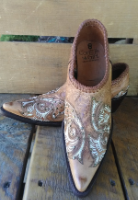 Western Shortie Ankle Boots in Saddle Tan with cream stitch