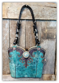 #109-18 Turquoise leather western bag with horse tack handles