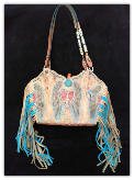 #121-17 Peace wings cowboy boot purse with fringe