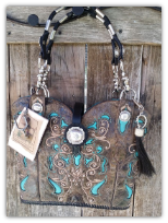 #122-17 Black Cowboy boot purse with Turquoise Inlays