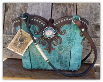 #125-17 Turquoise leather western bag with horse tack handles