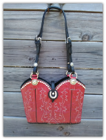 #130-15 Red Cowboy boot purse with Swarovski Crystals