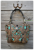 Black Cowboy boot purse with Turquoise Inlays