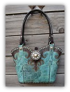 #137-17 Turquoise leather western bag with horse tack handles
