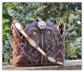 138-17Purple with multi stitch pattern cowboy boot purse