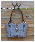 140-17  Blue Cowboy boot purse