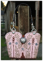 #142-15 Pink cowboy boot purse with bucking bronc conchos