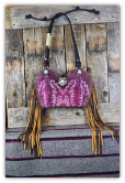 147-17 Beautiful Fucsia cowboy boot purse with fringe